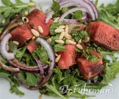 Arugula and Watermelon Salad with Balsamic Vinegar Glaze. Substitute pepitas.