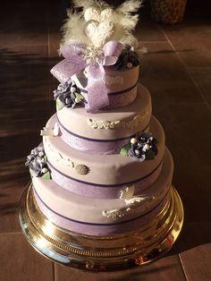 Round Wedding Cakes - purple wedding cake
