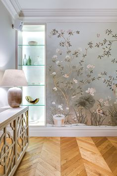 Oak chevron parquet flooring by in beautiful interior designed by Tessuto Beautiful Interior Design, Luxury Interior Design, Interior Decorating, Decorating Tips, De Gournay Wallpaper, Accent Wall Designs, Stencil Painting On Walls, Victorian Bedroom, Antique Interior