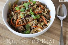 Egg Roll in a Bowl, a healthy low carb dinner that meets Paleo and Whole30 requirements. Diet friendly. and Easily gluten free. Recipe. Dinner. Alohamoraopenabook Alohamora Open a Book http://alohamoraopenabook.blogspot.com/