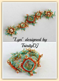 """""""Lyn"""" - Named this design after Lyn Owen. Her dichroic cab was the inspiration for this bracelet. Instructions will follow soon."""