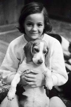 Girl and beagle, 1968