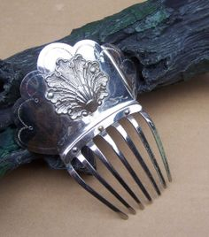 """Polished Steel Mantilla Style Hair Comb Inscribed with Owner's Name from """"The Spanish Comb"""" my shop on Ruby Lane"""