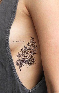 Popular Black Mandala Black Floral Flower Rose Rib Tattoo Ideas for Women - idea. - Popular Black Mandala Black Floral Flower Rose Rib Tattoo Ideas for Women – ideas de tatuaje de c - Rose Rib Tattoos, Flower Tattoo On Ribs, Side Tattoos, Body Art Tattoos, Sleeve Tattoos, Wrist Tattoo, Tattoos On Ribs, Floral Foot Tattoo, Side Boob Tattoo
