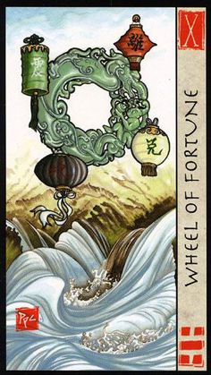 The Wheel of Fortune - Feng Shui Tarot by Eileen Connolly, Peter Paul Connolly 3 Card Tarot Reading, Free Tarot Reading, Feng Shui, Wheel Of Fortune Tarot, All Tarot Cards, Le Tarot, Fortune Cards, Major Arcana, Oracle Cards