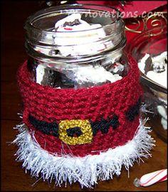 Ravelry: Santa Jar Cozy with Peppermint Bark Recipe pattern by Yarn Twins
