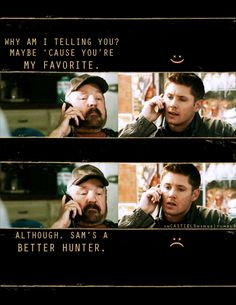 This is such an awesome representation of an excellent scene. I love Bobby so much. And Dean's reactions are so genuine. He really did love the old grump. #Supernatural #Bobby #Dean