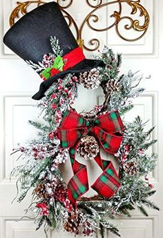 Pleasant Expressions Handmade & Custom Wreaths, Home Decor, Cards in Oklahoma Handmade Christmas Holiday Country Snowman Wreath, Snowy Mountain Pine Berry Snowman Wreath Top Hat, Holiday Snow Plaid Wreath, Snowman Wall Hanging