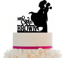 Custom Wedding Cake Topper , Couple Silhouette, Your last Name and free base for display after the event by Mclaserpro on Etsy https://www.etsy.com/listing/229305714/custom-wedding-cake-topper-couple