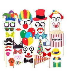 COOLOOdirect 36 Pcs Attached Photo Booth Props,Diy Kit For Party Favors for Wedding Birthday Carnival Bachelorette Acessories Party Clowns For Birthday Parties, Circus Birthday, Circus Theme, Circus Clown, Birthday Ideas, Birthday Supplies, Birthday Board, Birthday Nails, Diy Birthday