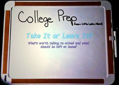 This girl's thinks of everything for preparing to go to college. Maybe a little obsessive but she definitely has a lot of helpful tips!