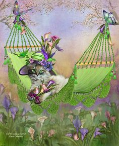 How sweet is that A cuddly cat in a Fancy calla lily hat Lounging in a garden hammock The greenest I've ever seen I see flowers and feathers Jeweled pansies in purple and blue Oh look, there's a dragonfly,too. A hummer, buttys and callas galore Don't think this contented kitty Could ask for anything more.