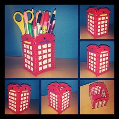 London phonebooth with hama beads by Rosi Pixels