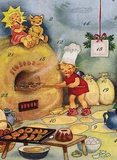 Christmas baking angels advent card ~ Germany