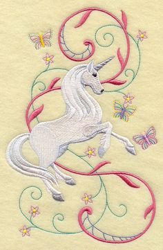 unicorn ina fairy tale | Machine Embroidery Designs at Embroidery Library! - Unicorn Prancing ...