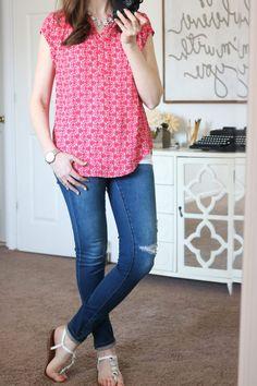 Stitch Fix - Hudson Split Neck Blouse with distressed skinny jeans
