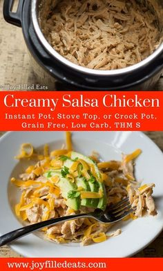 Creamy Salsa Chicken - Instant Pot, Crock Pot, or Stove Top - Low Carb, Grain & Gluten Free, THM S via /joyfilledeats/