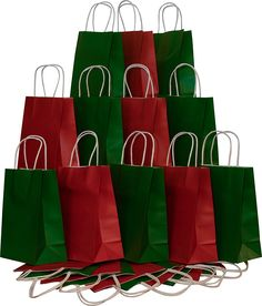 Christmas Gift bags, Red and Green Kraft with white twine handles, 12 of each color, set of 24 bags *** Details can be found  : Christmas Gifts