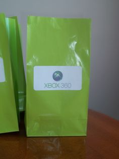 Xbox Party Treat Bag.  Used neon green lunch bags from dollar store and printed Xbox logo on envelope label.