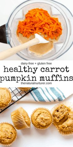 These Healthy Carrot Pumpkin Muffins are silly easy to make and full of wonderful flavor. Loaded with good-for-you orange veggies, they wonderful breakfast, snack or lunch box addition Naturally gluten free, dairy-free and nut-free. Healthy Muffin Recipes, Healthy Breakfast Muffins, Healthy Desserts, Baby Food Recipes, Fall Recipes, Clean Eating Pumpkin Muffins, Healthy Pumpkin Muffins, Healthy Gluten Free Snacks, Healthy Veggie Snacks
