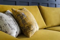 We love this Romano sofa in Gold!