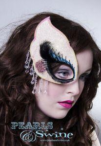 Image of Dollface Half Mask Fascinator Pop Surreal Millinery UK Halloween Theatrical