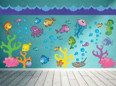 Etsy listing at http://www.etsy.com/listing/162825393/wall-decals-for-kids-nursery-fish-wall
