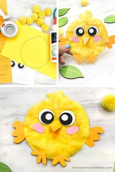 This fluffy chick craft for kids uses yellow poms to give it a fun feel. It comes with a free printable template that is easy to recreate. crafts for kids Easter Arts And Crafts, Easter Crafts For Toddlers, Spring Crafts For Kids, Daycare Crafts, Easter Projects, Bunny Crafts, Easter Activities, Easter Crafts For Kids, Toddler Crafts