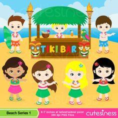 Tiki Beach Digital Clipart , Aloha Clipart, Luau Clipart , Beach party Clipart