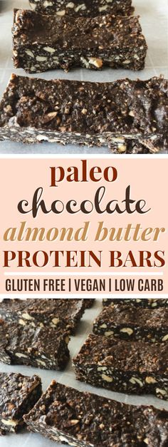 Chocolate Almond Butter Paleo Protein Bars | These chocolate almond butter paleo protein bars look AMAZING! They're so simple to make, are absolutely delicious, and are full of protein and fiber! I love that these paleo protein bars are vegan, low carb, gluten-free, dairy-free, and grain-free! These will make a perfect paleo snack when I'm on the go! Definitely pinning! #paleo #glutenfree #vegan #lowcarb