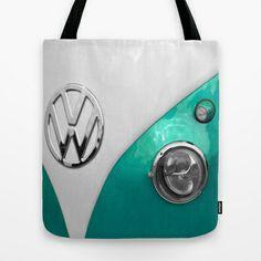 VW Split Screen in Teal Tote Bag by Alice Gosling - $22.00