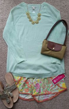 Target Lilly Pulitzer shorts, jcrew sweater