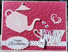 Handmade BIRTHDAY, Thinking Of You Card Kit, set of 4, Stampin' Up! Have A Cuppa, Teapot by decamerax3 on Etsy