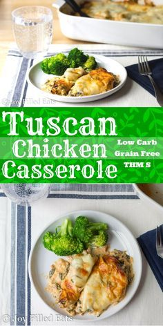 My Tuscan Chicken Casserole has a creamy sun-dried tomato sauce with chicken, spinach, and provolone cheese. It is incredible. Low Carb, Grain Free, THM S. via @joyfilledeats