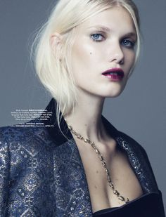 Platinum hair & berry stained lips. Photographed by Paul Morel for Elle Mexico.