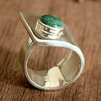 Chrysocolla cocktail ring, 'Wrap' by NOVICA