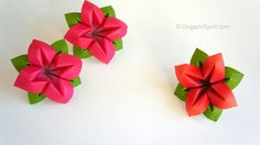 How to make an origami flower and leaves perfect for a bouquet. Haz una flor y sus hojas, perfecta para hacer un ramo.