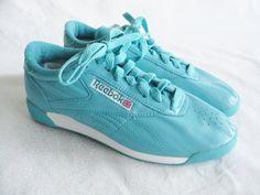 0d078227e6d 80 s Reebok shoes vintage aerobic tennis shoes aquamarine leather shoes women s  shoe size 7 1 2