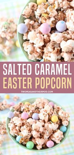 Create a magical Easter popcorn with the perfect balance of sugar and salt! The salted caramel marshmallow mixture with pretzel M&Ms makes it so addicting! This simple treat is easy to make, fun to share, and makes a great gift for kids! Popcorn Recipes, Caramel Recipes, Candy Recipes, Snack Recipes, Holiday Desserts, Holiday Baking, Holiday Treats, Fun Easy Recipes, Easter Recipes