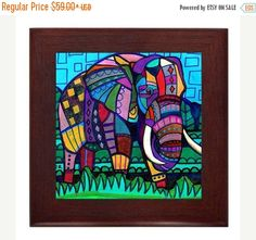 50% Off Today- Elephant Folk Art Ceramic Framed Tile by Heather Galler - Animals Ready To Hang Tile Frame Gift