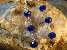 Cobalt Blue Crystal Dangle Earrings, Handmade Gifts for her from The Hidden Meadow