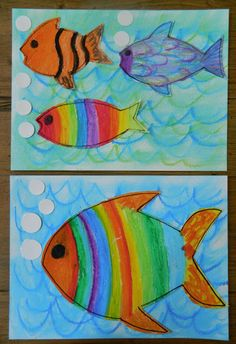 the vintage umbrella: oil pastel fish #kidsart #kids, watercolor paper