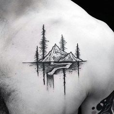 Manly Nature River Mens Upper Chest Small Tattoos #TattoosforMen