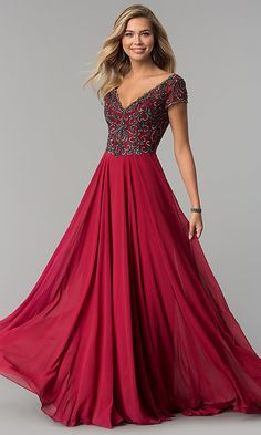 Shop long v-neck short-sleeve chiffon prom dresses at PromGirl. Long a-line designer prom dresses with short sleeves and rhinestone embellishments. Evening Dresses With Sleeves, V Neck Prom Dresses, Ball Gown Dresses, Dressy Dresses, Modest Dresses, Short Sleeve Dresses, Bride Dresses, Dance Dresses, Long A Line Skirt