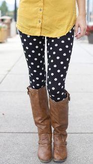 Black & ivory polka dot leggings only $12.99!