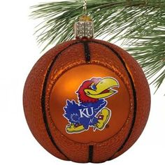 Kansas Jayhawks Glass Basketball Ornament! Check out all of the Jayhawk Holiday decor here: http://pin.fanatics.com/COLLEGE_Kansas_Jayhawks_Accessories_Holiday_Items/source/pin-kansas-holiday-decor-sclmp