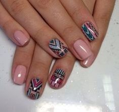 Wah Nails are the largest influence on however nail art has set out within the kingdom. Aztec Nail Designs, Orange Nail Designs, Natural Nail Designs, Nail Art Designs, Nail Art Tribal, Tribal Nails, Fancy Nails, Pretty Nails, Usa Nails