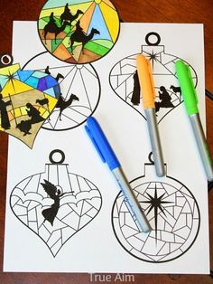 nativity ornament coloring printable