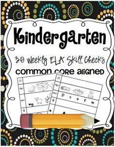 ELA Common Core Kindergarten Skills Checks