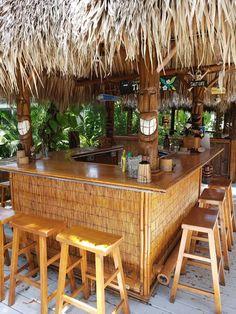 River Waterfront with Tiki Bar & BBQ/ Fire-pit Area - Bonita Springs Backyard Bar, Patio Bar, Pool Bar, Outdoor Tiki Bar, Tiki Bar Decor, Tiki Bar Stools, Tiki Hut, Tiki Tiki, Tiki Lounge
